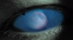 Sorcerer´s eye, magic witchcraft, moon and birds eyeball halloween animation - stock footage