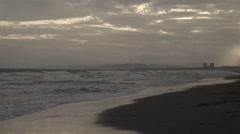Slow motion footage of the beach at sunset in Enoshima, Kanagawa Prefecture, Stock Footage