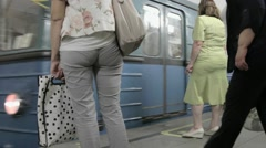Train with passengers at subway station Pushkin in Moscow - stock footage