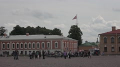 The fortress flag of Russia  Peter and Paul Fortress Stock Footage