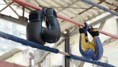 Boxing gloves and ring in fitness gym boxe combat sports - stock footage