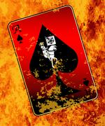 Burning Ace Of Spades - stock illustration