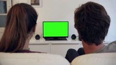 Watching Green Screen TV Couple - Full HD Stock Footage