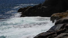 Slow motion of rough waves on a coastline Stock Footage