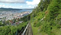 Riding the funicular to Mount  Floyen Bergen, Norway Stock Footage