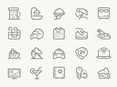 Hotel Services line icons - stock illustration