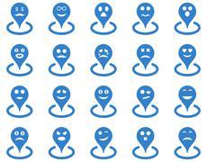 Smiled location icons - stock illustration