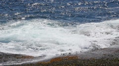 Slow motion of beautiful waves on a coastline Stock Footage