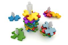 Businessman and colorful puzzle - stock illustration