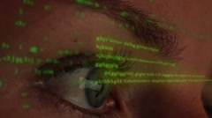 Computer Programmer coding on Futuristic Hologramic Display Stock Footage
