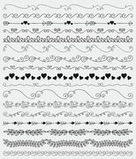 Vector Black Hand Sketched Seamless Borders, Branches - stock illustration