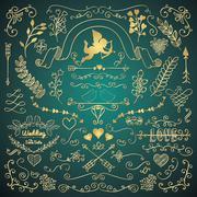 Golden Hand Sketched Rustic Floral Design Elements Stock Illustration