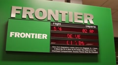 Editorial frontier airport sign with information - stock footage