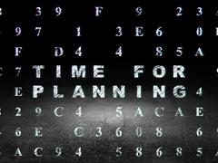 Time concept: Time for Planning in grunge dark room - stock illustration