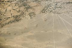 Aerial view on a traditional masai village Stock Photos
