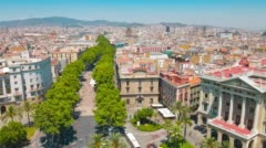 La Rambla Barcelona establishing shot, typical Spanish architecture buildings - stock footage
