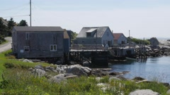 Beautiful ocean cottages at peggys cove Stock Footage