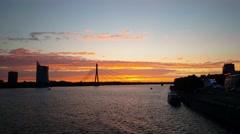 Vanšu Bridge during sunset in Riga Latvia Stock Footage