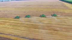aerial wheat harvesting HD - stock footage