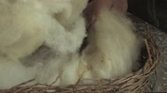 Spinnig Wool at the Katzrin Archaeological Park and Talmudic Village Stock Footage