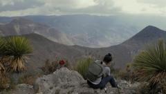 Trekking in desert color grad B 4k Stock Footage