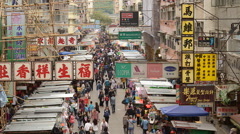 Time Lapse of Busy Mong Kok Market in Hong Kong China Stock Footage