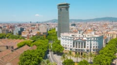 Skyline Barcelona city buildings establishing shot, Catalunya, 4k UltraHD Spain Stock Footage