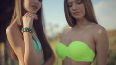 Two sexy young women in bikinis in a field Stock Footage