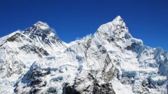 Mt Everest (left, 8850m) and Mt. Nuptse (right) in the Himalayas, Nepal Stock Footage