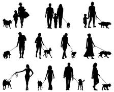 People and dogs Stock Illustration