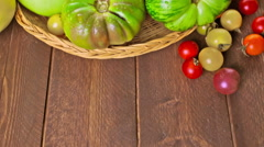 Organic heirloom tomatoes from backyard farm. Stock Footage