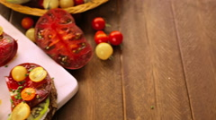 Tomato sandwich made with organic heirloom tomatoes. Stock Footage