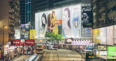 time lapse of causeway bay hong kong - stock footage