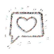 people in the shape of a buble chat. - stock illustration
