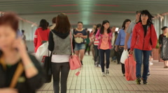 Time Lapse of Crowded Pedestrian Walkway in Kowloon Hong Kong Stock Footage