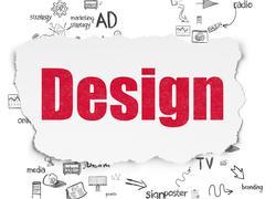Advertising concept: Design on Torn Paper background - stock illustration