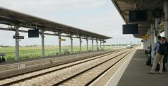 French regional train arriving in station Stock Footage