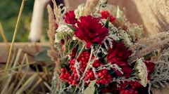 Beautiful wedding bouquet of flowers, a video on the move - stock footage