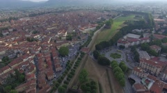 Aerial view of ancient town of Lucca, Tuscany Stock Footage