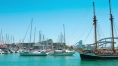 Sailing boat and yachts in Barcelona Port 4K UltraHD Stock Footage
