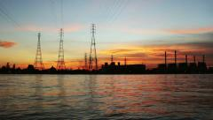 Electric plant station at sunset Stock Footage