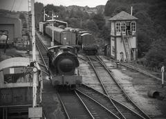 Monochrome of steam engine at Embsay railway station, Yorkshire - stock photo