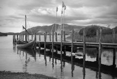 Monochrome of jetty at Derwent water, Lake District - stock photo