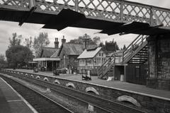 Monochrome of Embsay steam railway station, Yorkshire - stock photo