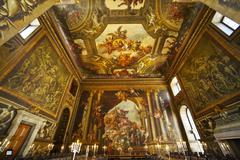 Low wide angle of the painted hall, Greenwich Naval College, London - stock photo
