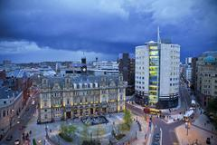 High angle shot of Leeds City square in a brewing storm Stock Photos