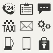 Flat in black and white concept mobile application service icons Stock Illustration