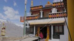 Ki gompa entrance to meditation hall,Key,Spiti,India Stock Footage