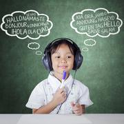 Student studying multi language by listening Stock Photos