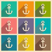 Flat with shadow icon and mobile applacation anchor - stock illustration